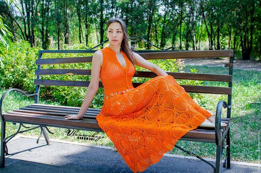 """Платья ручной работы. Ярмарка Мастеров - ручная работа. Купить Платье вязаное крючком """"Оранжевое настроение"""". Handmade. Оранжевый"""