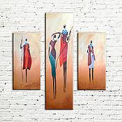 """Картины и панно ручной работы. Ярмарка Мастеров - ручная работа Модульная картина """"Африка"""". Handmade."""