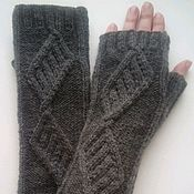 Аксессуары handmade. Livemaster - original item Fingerless long gloves, Patterned stripes, dark grey. Handmade.