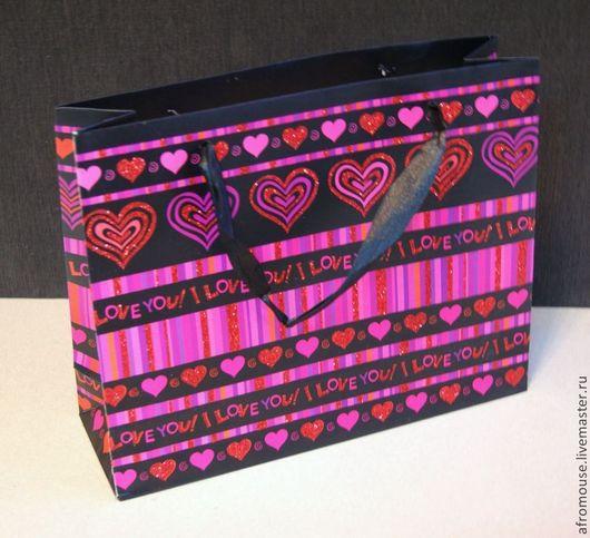 пакет `Черно-розовые сердечки` 25х20х8 см