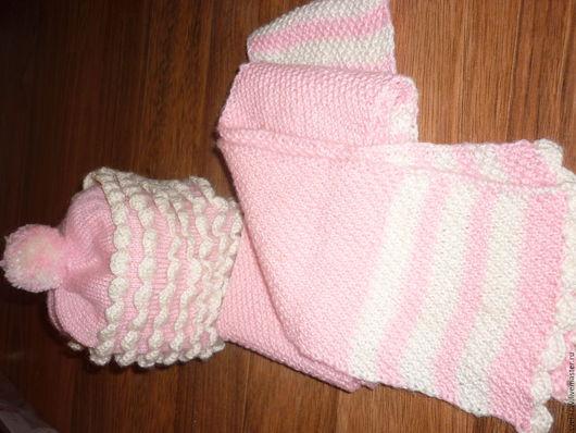Шапки ручной работы. Ярмарка Мастеров - ручная работа. Купить розовый комплект: шапка и шарф. Handmade. Комбинированный, детская шапка