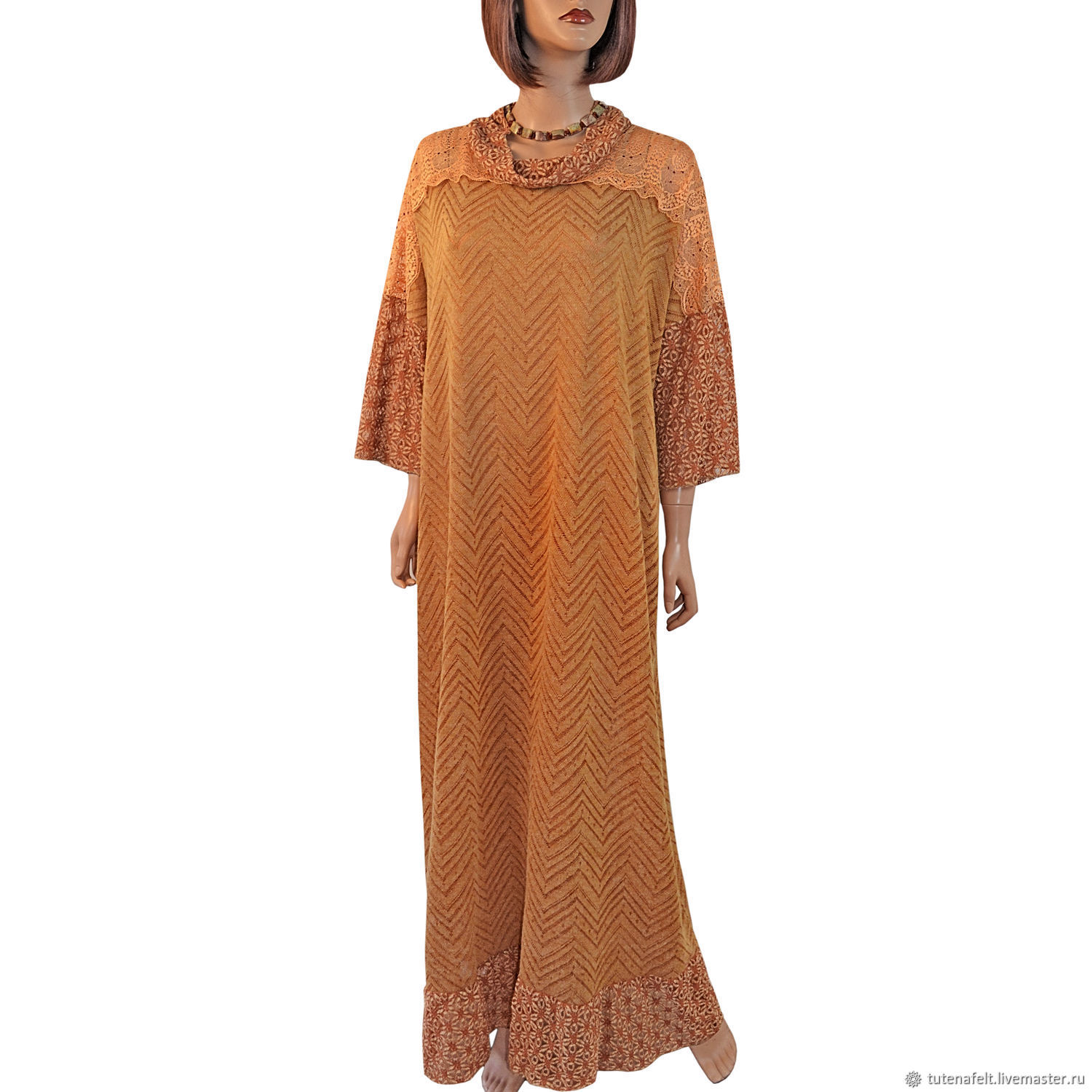 Elegant light dress made of knitwear and guipure ' Gold 2', Dresses, Mulhouse,  Фото №1