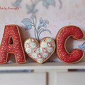 """Для дома и интерьера ручной работы. Ярмарка Мастеров - ручная работа Интерьерные буквы-подушки """"Инициалы"""". Handmade."""