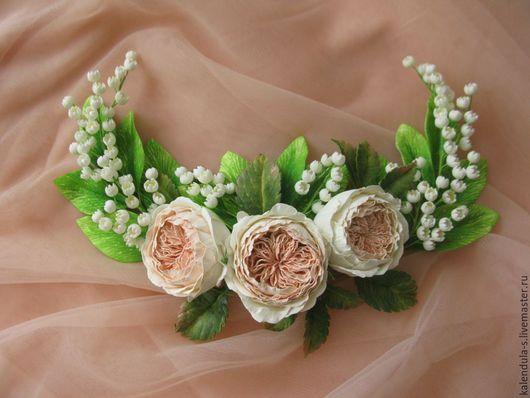 Диадемы, обручи ручной работы. Ярмарка Мастеров - ручная работа. Купить Розы в ландышах. Handmade. Белый, цветы, украшение для невесты