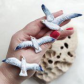 Украшения handmade. Livemaster - original item Brooch Seagull embroidery surface summer brooch bird. Handmade.