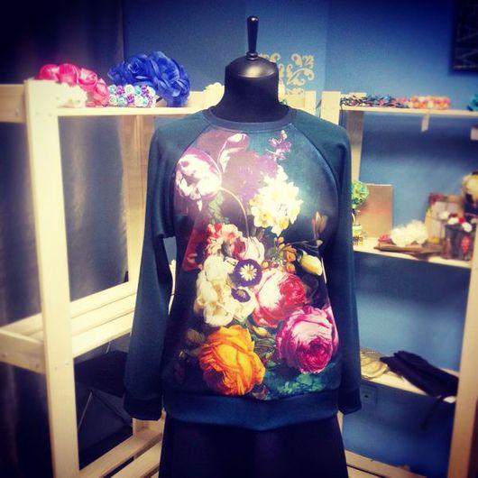 """Кофты и свитера ручной работы. Ярмарка Мастеров - ручная работа. Купить Свитшот """"Цветы"""". Handmade. Свитшот, свитшот купить, свитшоты"""
