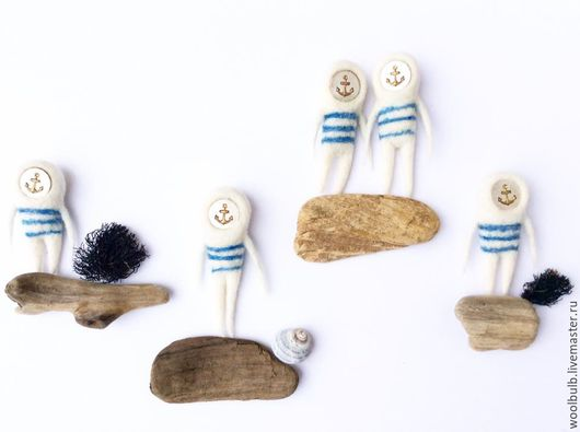 """Серьги ручной работы. Ярмарка Мастеров - ручная работа. Купить """"Матросики"""" - брошка или сережка. Handmade. Белый, голубой, море"""