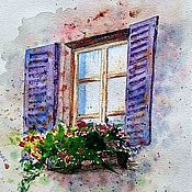 Pictures handmade. Livemaster - original item Painting Provence Watercolor Italy painting window with flowers purple. Handmade.