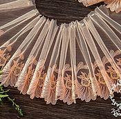 Материалы для творчества ручной работы. Ярмарка Мастеров - ручная работа Кружево 437 вышивка на сетке, кружево с вышивкой. Handmade.