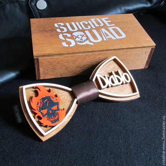 """Галстуки, бабочки ручной работы. Ярмарка Мастеров - ручная работа. Купить Галстук-бабочка из дерева """"Suicide squad: Diablo"""". Handmade."""