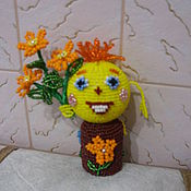 Для дома и интерьера ручной работы. Ярмарка Мастеров - ручная работа сидит Колобок на пенечке и дарит всем цветочки. Handmade.