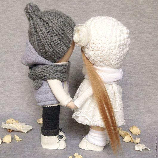 Куклы тыквоголовки ручной работы. Ярмарка Мастеров - ручная работа. Купить Мальчик и девочка. Handmade. Белый, сладкая парочка, трикотаж