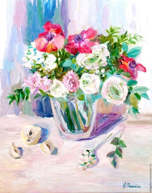 """Картины цветов ручной работы. Ярмарка Мастеров - ручная работа. Купить """"Цветы для принцессы"""". Картина маслом.. Handmade. Белый"""
