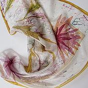 Shawls1 handmade. Livemaster - original item Asters. Natural silk.Batik, hand-painted.. Handmade.