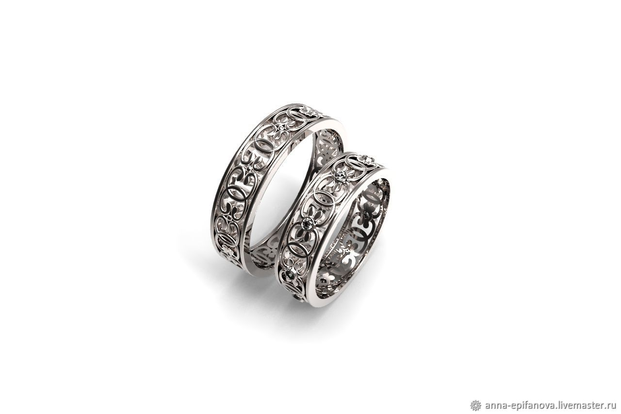 Paired wedding rings with patterns, silver (Ob28), Engagement rings, Chelyabinsk,  Фото №1