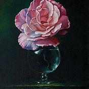 """Картины ручной работы. Ярмарка Мастеров - ручная работа Картина маслом """"Роза в бокале"""". Handmade."""