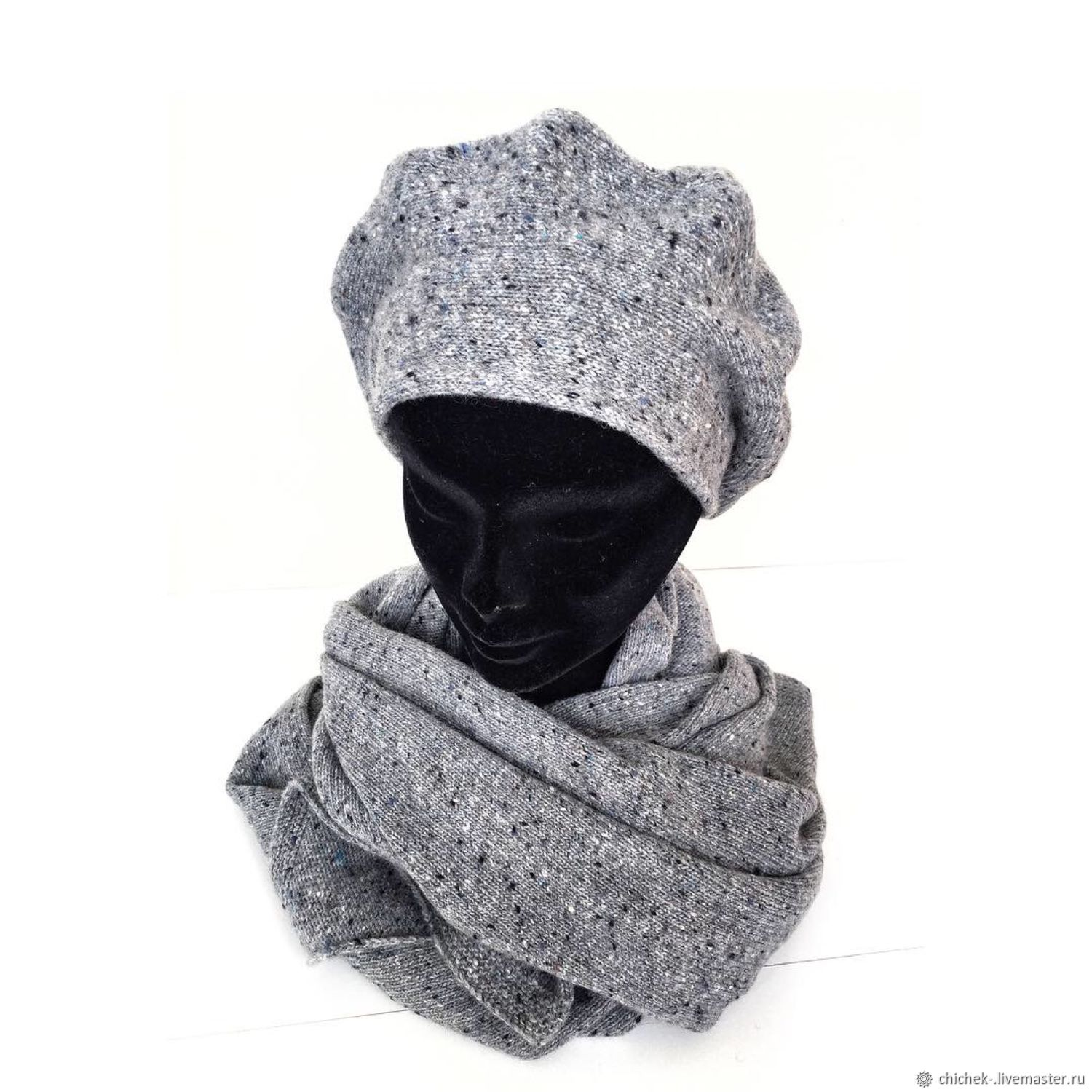 Beret and scarf knitted, yarn with cashmere, Berets, Noginsk,  Фото №1