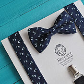 Аксессуары handmade. Livemaster - original item Bow tie and suspenders Mexican / dark blue butterfly tie, suspenders. Handmade.