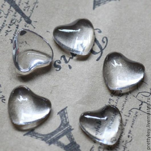 Для украшений ручной работы. Ярмарка Мастеров - ручная работа. Купить ВСЕ РАЗМЕРЫ! Стеклянный кабошон в форме сердца. Handmade.