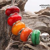 Материалы для творчества handmade. Livemaster - original item Autumn palette - set 5 lampwork Branzuletka beads - charms bracelet. Handmade.