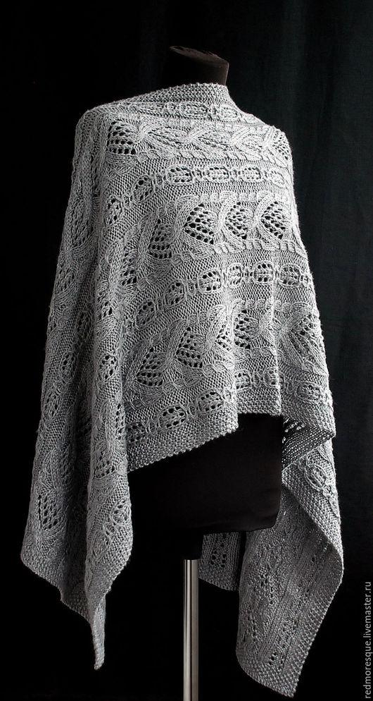 """Шарфы и шарфики ручной работы. Ярмарка Мастеров - ручная работа. Купить Стола """"Gray weave"""". Handmade. Серый, широкий шарф"""