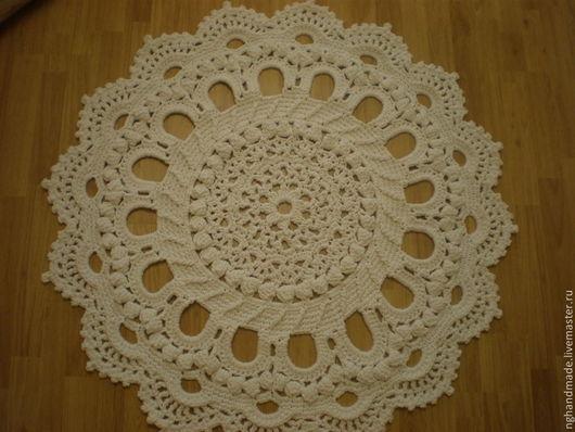 Текстиль, ковры ручной работы. Ярмарка Мастеров - ручная работа. Купить Ковер крючком. Handmade. Белый, ковер из шнура, великолепный