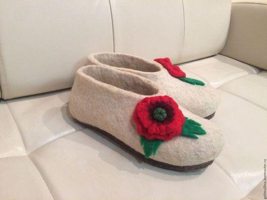"""Обувь ручной работы. Ярмарка Мастеров - ручная работа. Купить Тапочки """"МАК"""". Handmade. Белый, тапочки из войлока, из шерсти"""