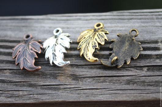 Для украшений ручной работы. Ярмарка Мастеров - ручная работа. Купить Подвеска-коннектор Лист, цвет бронза, золото, серебро. Handmade.