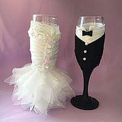 Свадебный салон ручной работы. Ярмарка Мастеров - ручная работа Свадебные бокалы женихи невеста. Handmade.
