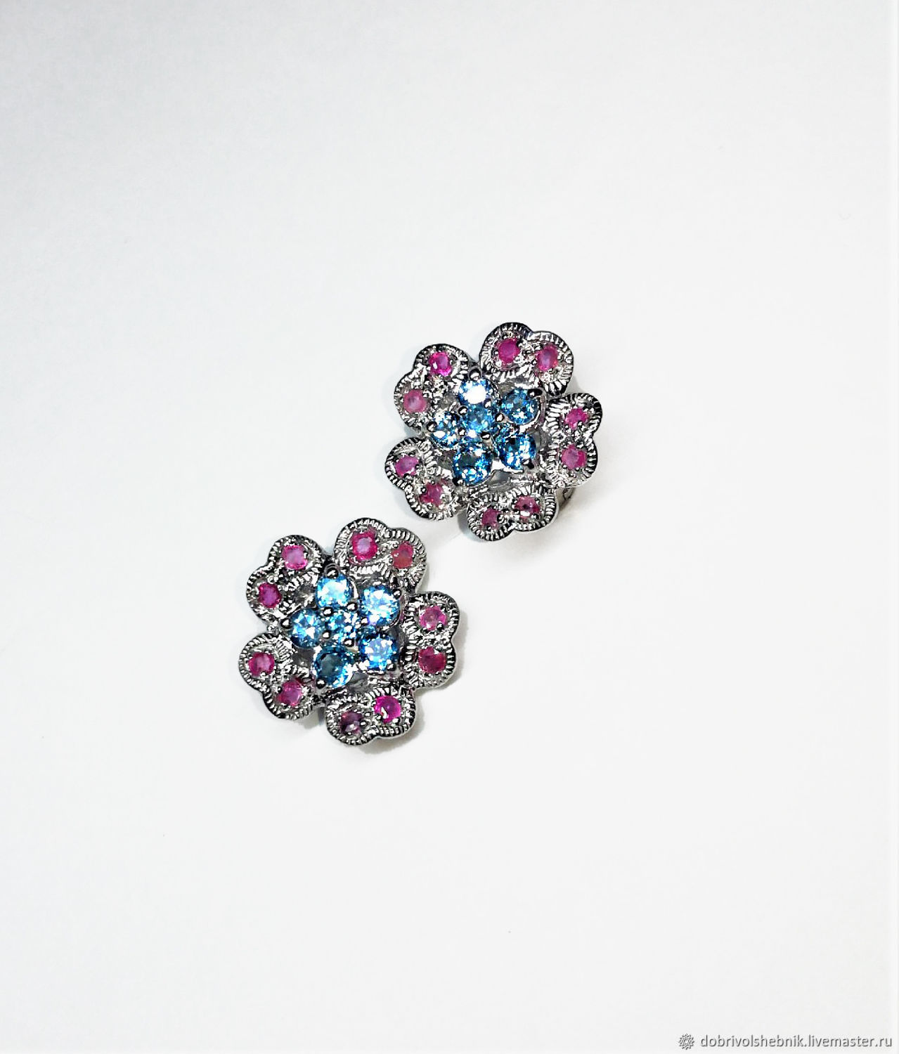 Primula earrings with rubies and blue Topaz, Earrings, Novaya Usman,  Фото №1