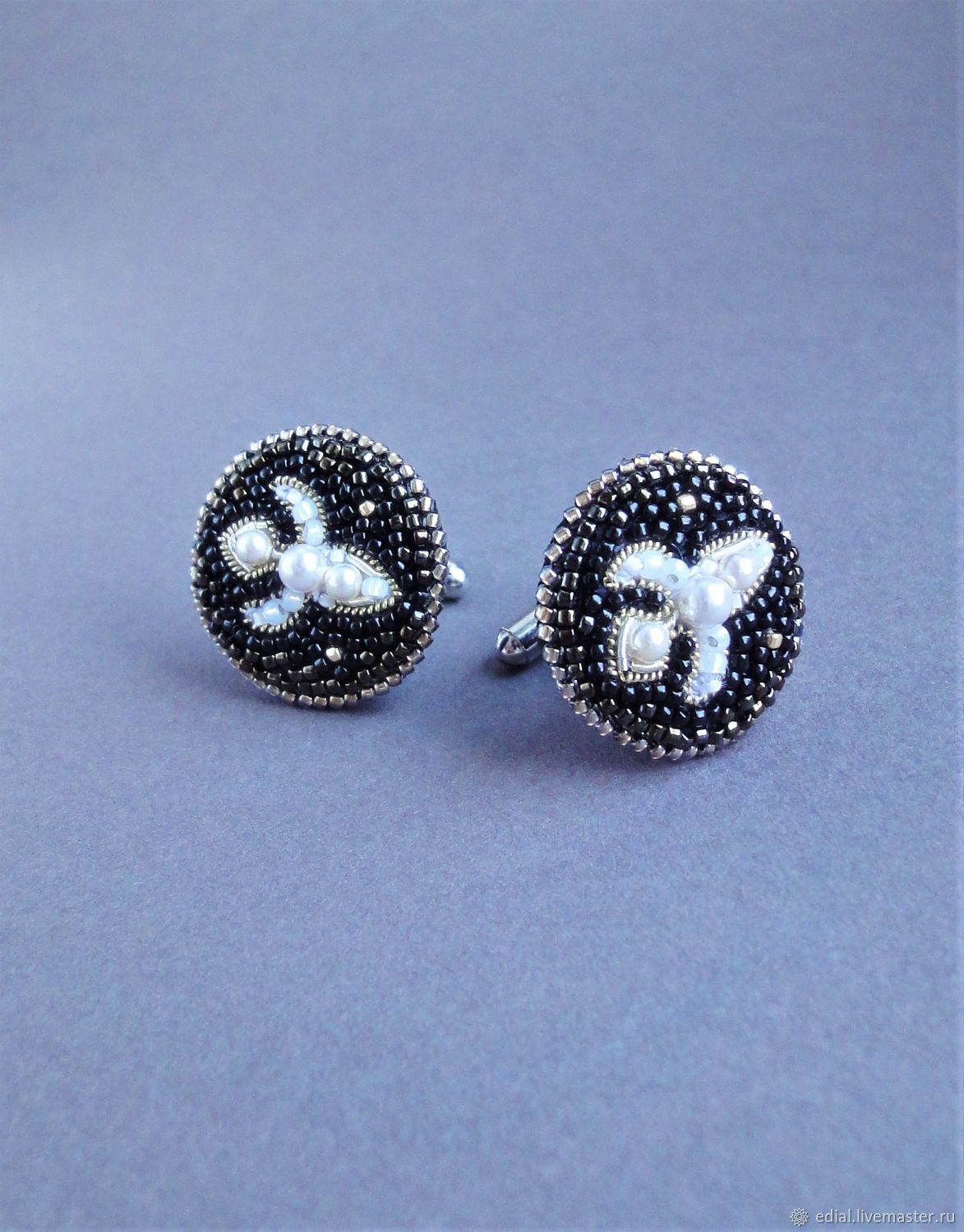 Cufflinks LILY beads, GIMP, pearl, leather, Cuff Links, Moscow,  Фото №1
