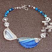 """Колье ручной работы. Ярмарка Мастеров - ручная работа Колье: """"Ветер с моря дул"""" синий серый срезы агата. Handmade."""