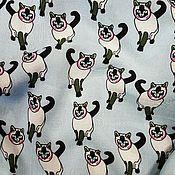 Ткани ручной работы. Ярмарка Мастеров - ручная работа ткань штапель  котики 4 вида. Handmade.
