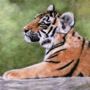 """Картины и панно ручной работы. Ярмарка Мастеров - ручная работа """"Тигр"""" картина из шерсти. Handmade."""