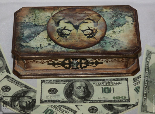 """Шкатулки ручной работы. Ярмарка Мастеров - ручная работа. Купить Купюрница """"Butterfly"""". Handmade. Комбинированный, декупаж купить, купюрница деревянная"""