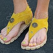 Обувь ручной работы handmade. Livemaster - original item Sandals low mustard suede. Handmade.