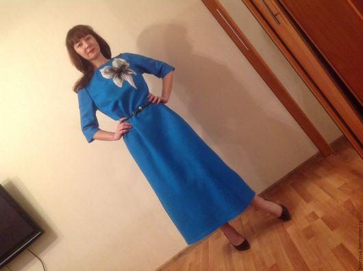 Платья ручной работы. Ярмарка Мастеров - ручная работа. Купить Войлочное платье бирюзовое с цветком. Handmade. Бирюзовый, платье из войлока