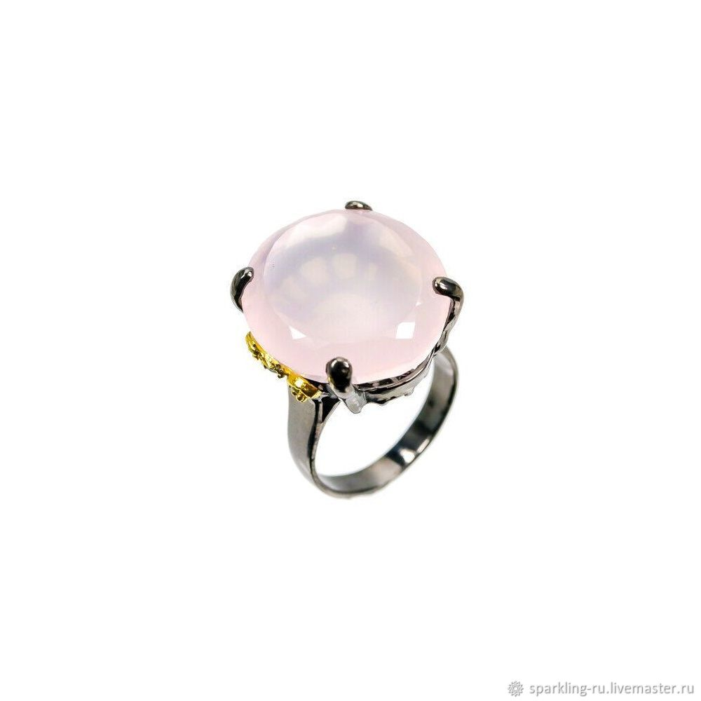 Large silver ring with rose quartz, size 19, Rings, Moscow,  Фото №1