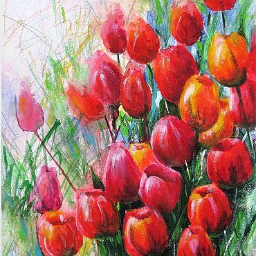 Картины и панно ручной работы. Ярмарка Мастеров - ручная работа Картина Акварель Тюльпаны Красные цветы Красивая картина в интерьер. Handmade.