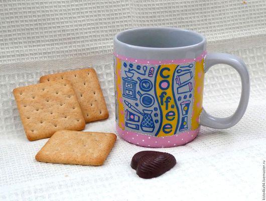 керамическая кружка чашка с росписью love is для чая кофе для любителей чая оригинальный подарок девочке женщине на день рождения Новый Год на любой праздник