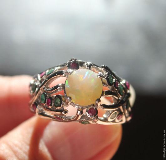 """Кольца ручной работы. Ярмарка Мастеров - ручная работа. Купить Кольцо """"Exotic"""" опал. Handmade. Кольцо серебряное, опаловый"""