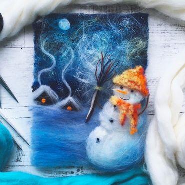 Картины и панно ручной работы. Ярмарка Мастеров - ручная работа Набор для создания картины из шерсти «Новогодний снеговик». Handmade.