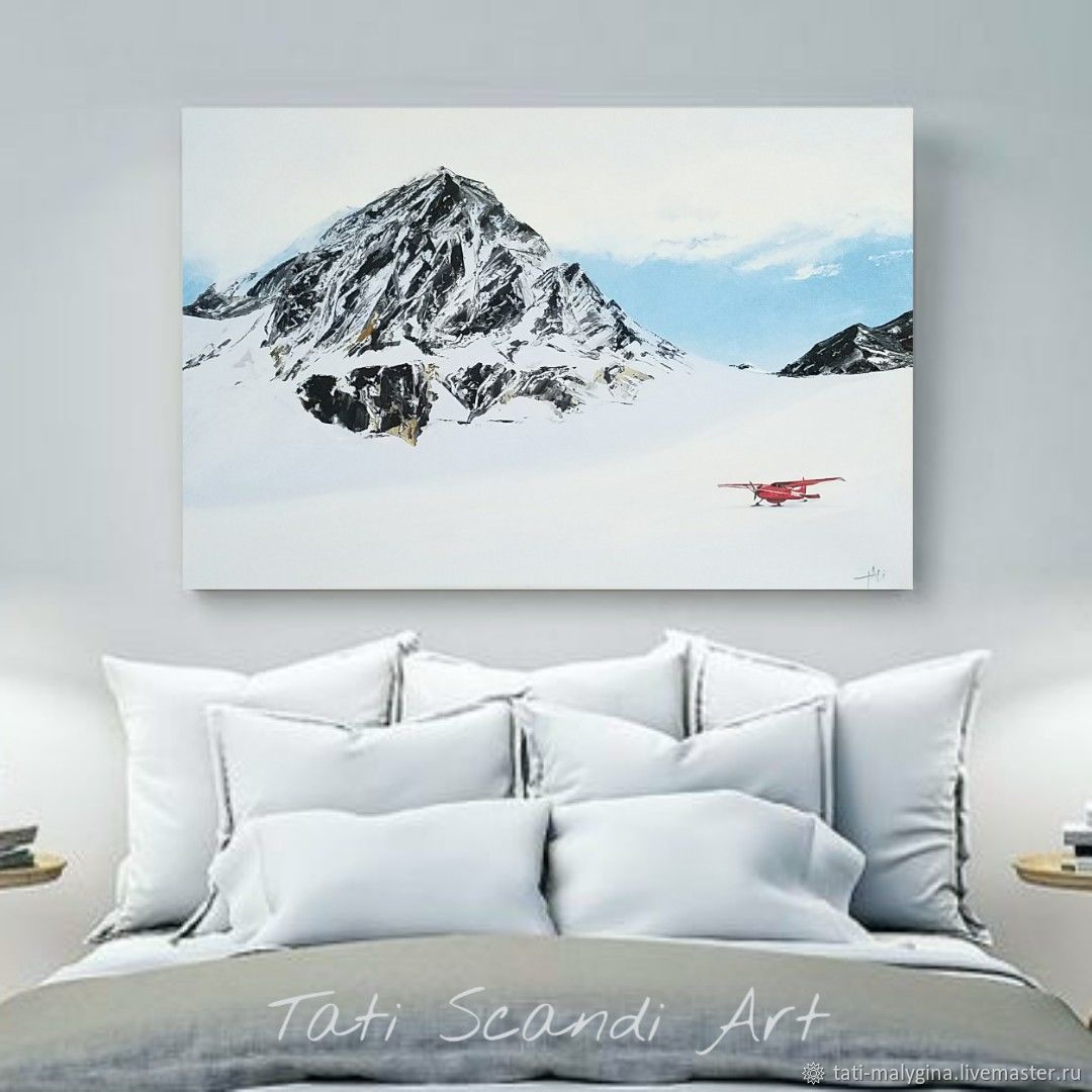 Картина маслом Горный пейзаж с самолетом. Норвегия, Картины, Барнаул,  Фото №1