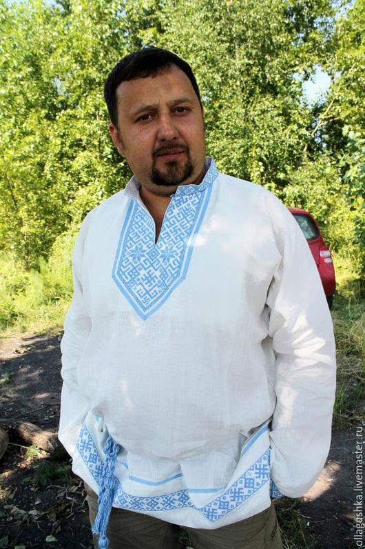 """Одежда ручной работы. Ярмарка Мастеров - ручная работа. Купить Рубаха славянская с Инглией и Алатырем """"Святогор"""" бело-голубая. Handmade."""