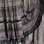 Одежда ручной работы. Ярмарка Мастеров - ручная работа Юбочка в  коричневую клеточку, длинная,многоярусная.. Handmade.