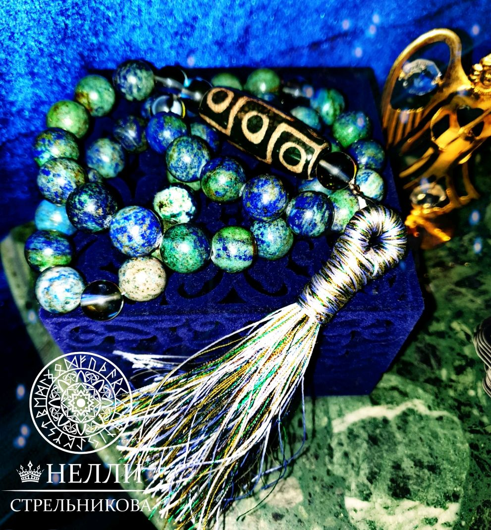 Rosary handmade. Livemaster - handmade. Buy Sacred rosary with brush from anormality with Dzi bead 40 beads.