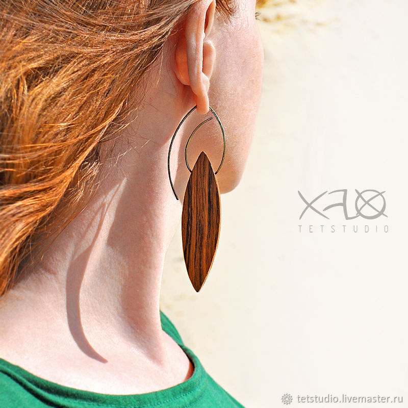 Earrings Handmade Livemaster Leaves Long Unusual Made Of Wood