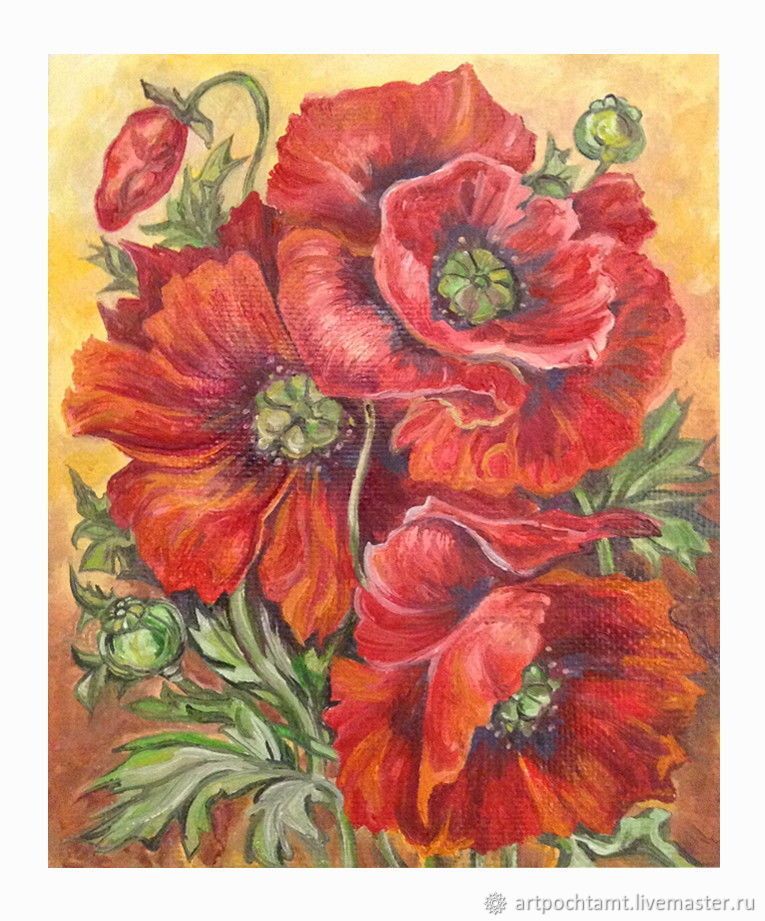 Oil painting Red poppies 25h21 cm, oil on canvas on hardboard, flowers, Pictures, Murmansk,  Фото №1