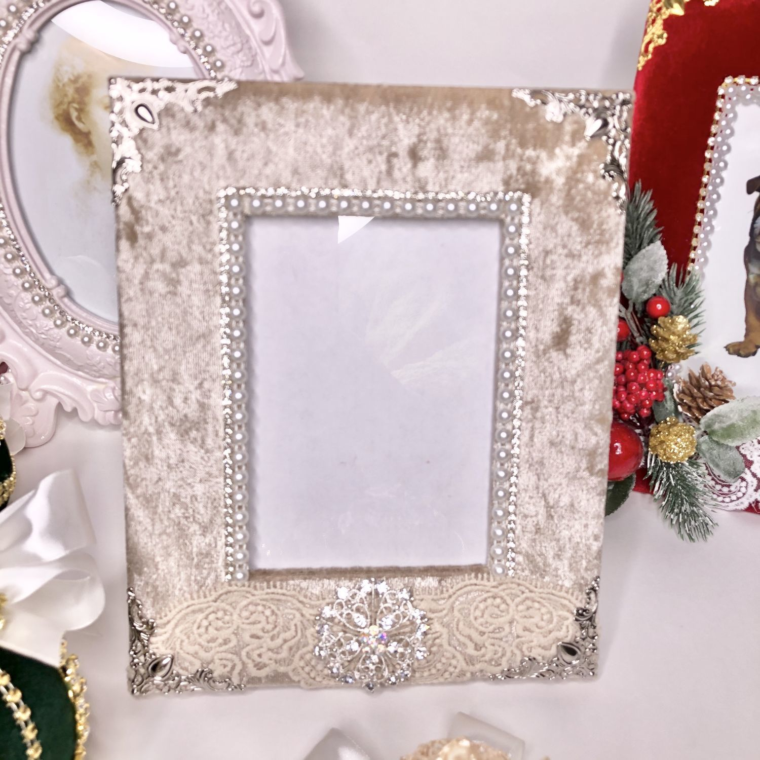 Photo frame in creamy velvet, Photo frames, Moscow,  Фото №1