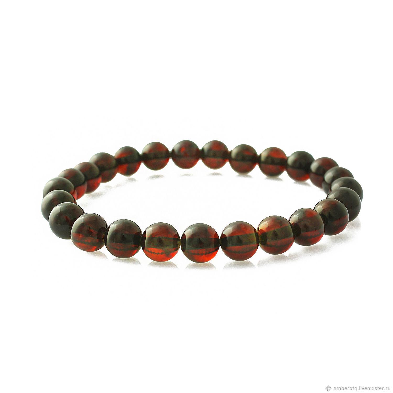 Amber bracelet 18 cm cherry (7,7 mm) with elastic band, Bead bracelet, Kaliningrad,  Фото №1